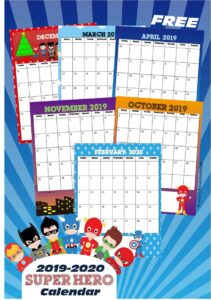 FREE Super Hero Printable Calendar 2019-2020. This is such a fun way for preschool, prek, kindergarten, first grade, and older kids to practice days of the month, weeks, and more with a fun theme #superhero #calendar #freeprintable
