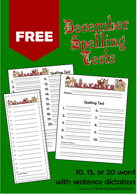 FREE December Spelling Test Holiday themed spelling tests are a fun december theme spelling activity for homeschool families that work with any spelling list or curriculum for kindergarten, first grade, 2nd grade, 3rd grade, 4th grade, 5th grade