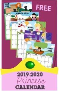 FREE Printable Princess Calendar - super cute calendar pages for 2019-2020 calendar year including favorite disney characters, Ana, Elsa, Snow White, Jasmine, Merida, Sleeping Beauty, Cinderella, Pocahontus, and more! #printablecalendar #princess #calendar