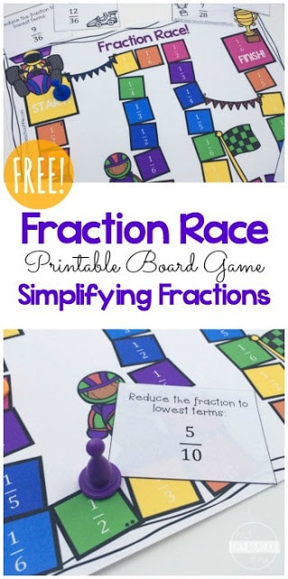 One math concept that can cause so many students to stumble is fractions. Understanding what they represent, using them in calculations, and simplifying can cause such anxiety. But with a little practice in a fun way, fractions don't have to be so intimidating. This super cute, colorful Fraction Race math game is a great way for third grade, fourth grade, and 5th grade students to practice. Our fraction board games is an easy, low prep fraction gameto work on simplifying fractions.