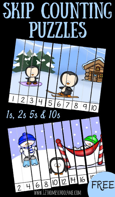 These super cute, free printable Winter Skip Counting Puzzles are a fun way to practice counting by 1s, counting by 2s, counting by 5s and counting by 10s. This math activity is lots of fun for January with preschool, pre k, kindergarten, first graders, and 2nd grade students. Simply download the pdf file and have fun with this skip counting printable that is self checking!