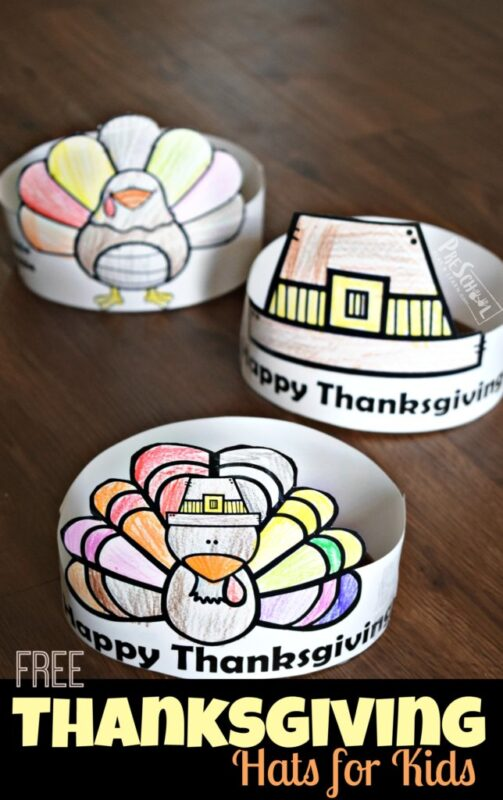 FREE printable Thanksgiving hats like turkey, pilgrim hat