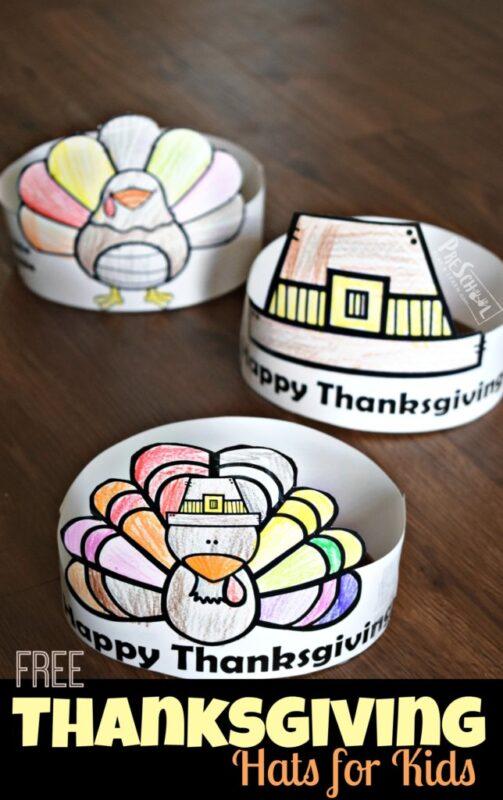 FREE printable Thanksgiving hats like turkey, pilgrim hat