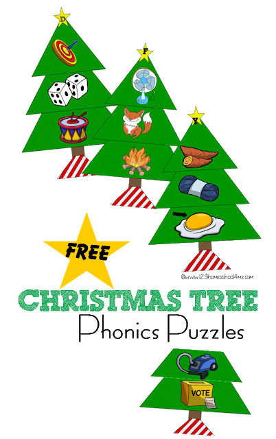 FREE Christmas Tree Phonics Puzzles - this printable alphabet game for toddlers, preschool, kindergarten, and 1st grade will help kids practice their alphabet letters during December. Fun alphabet activity for language arts center or educational christmas activity for kids #christmasprintable #chrsitmaslearning #kindergarten