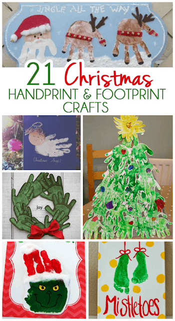 21 Christmas Handprint and Footprint Art - So many super cute Christmas crafts for kids from toddler, preschool, kindergarten and more perfect childhood keepsake and kids activities