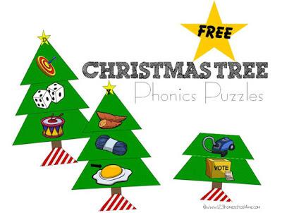 Christmas Tree Phonics Puzzles for Toddler, Preschool, Kindergarten, and 1st grade kids
