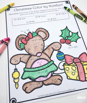 Christmas Math to help 3rd grade and 4th grade kids practice division