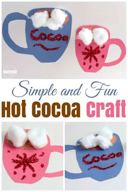 Super cute, simple hot cocoa craft for kids - this is such a fun winter craft for toddler, preschool, kindergarten, and first grade kids. #craftsforkids #wintercrafts #winterforkids