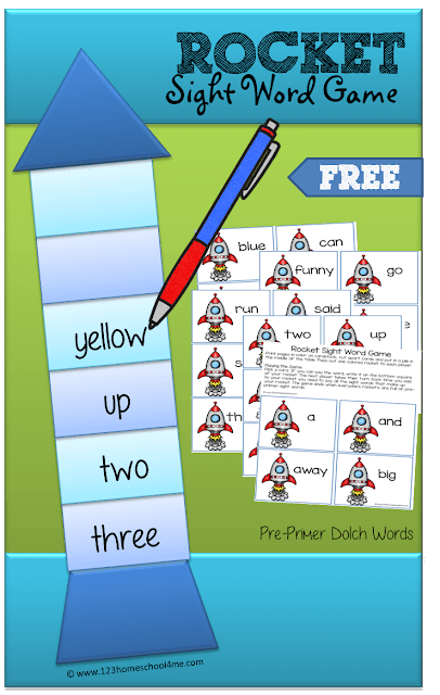 FREE Rocket Sight Words Game - This is such a fun, non competitive sight words game for preschool, kindergarten, and 1st grade students to practice the Pre Primer Dolch Sight Words (homeschool, learning games, preschooler)