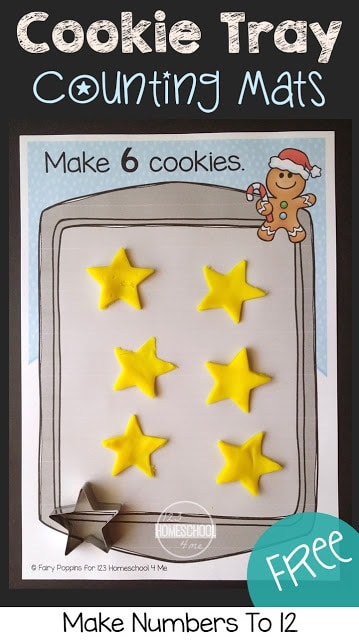 FREE Cookie Tray Counting Mats - these super cute Christmas printables are great to help toddler, preschool, and kindergarten age kids to practice counting during December with this fun learning activities for kids. Perfect for math centers, to make learning a game, number recognition, gingerbread man, and more! #christmasprintables #christmasmath #playdough