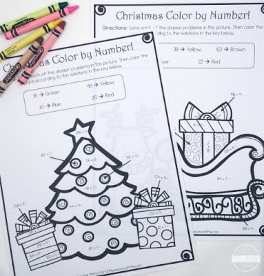 Free Division Color By Number Christmas