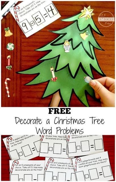FREE Christmas tree Math Word Problems - fun, hands on math word problems activity to help kindergarten, first grade, and 2nd grade students practice chrsitmas maths while practicing solving problems with addition and subtraction. #christmasmath #christmasprintables #christmastlearning