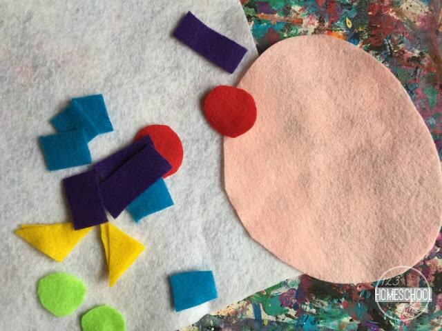 felt craft project for toddler, preschool, kindergarten ,first grade, 2nd grade