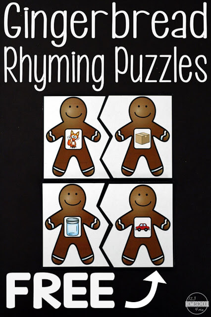 FREE Gingerbread Rhyming Activities - these puzzles are so cute, LOW PREP, and make a great learning activity for preschoolers, kindergarten, first grade, students in December and for a Gingerbread theme. #gingerbreadactivities #christmasprintables #gingerbreadprintables
