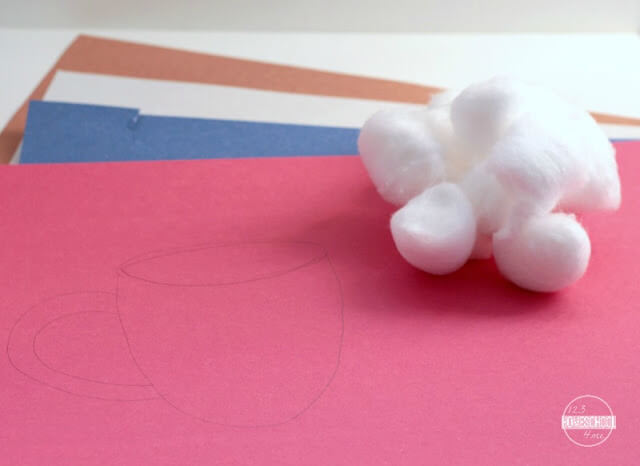 construction paper and cotton ball craft for kids