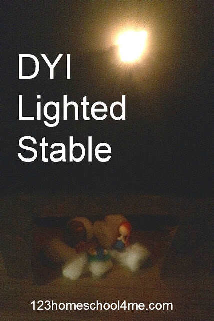 Lighted Stable STEM project for kids in December using parallel circuits (homeschool, kids activities, first grade, 2nd grade, 3rd grade, 4th grade, 5th grade, 6th grade)