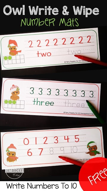 FREE Owl Write & Wipe Number Mats - free printable tracing numbers that is the perfect Christmas printable for toddler, preschool, prek, and kindergarten age kids. writing numbers practice 1-10 plus LOW PREP and reusable! #christmasprintables #numbers #preschool