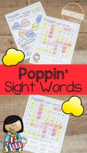 popcorn worksheets sight words
