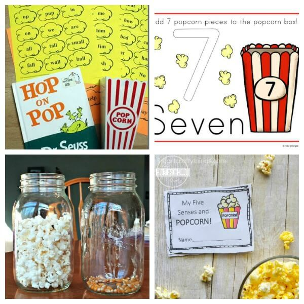 Educational popcorn activities perfect for national popcorn day, preschool themes, and homeschooling families
