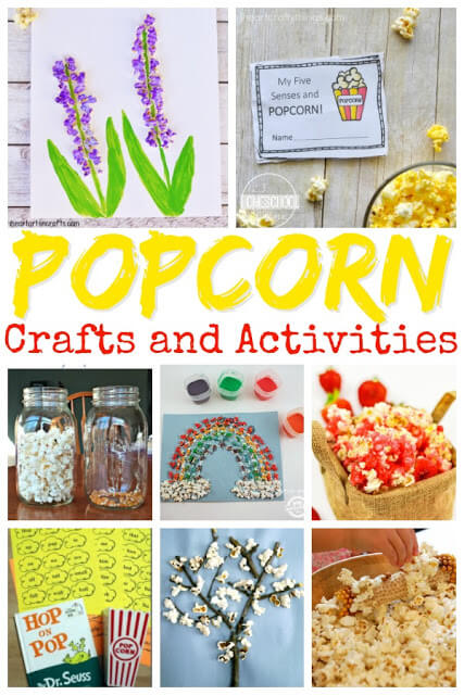 National Popcorn Day crafts, activities, books, and more to celebrate at home, preschool center, homeschool, or family fun on January 19. These popcorn activities for kids are great for toddler, preschool, kindergarten, first grade, 2nd grade, 3rd grade, and 4th grade students.