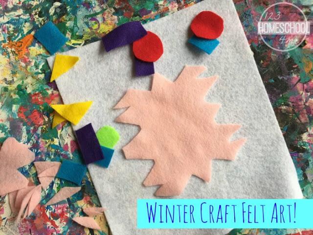 winter craft using felt for toddler, preschool, kindergarten, first grade, 2nd grade