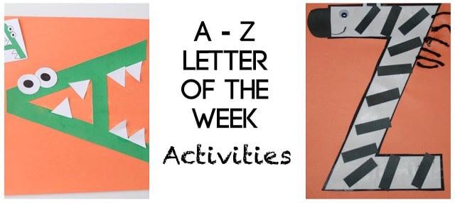 A to Z letter of the week activities for toddler, preschool, prek, kindergarten