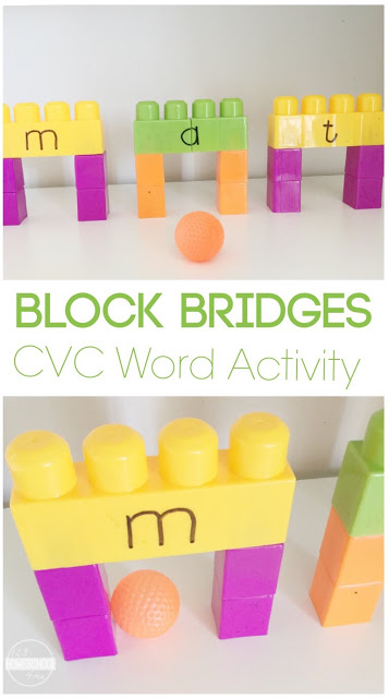 This fun Bridges cvc games kindergarten uses blocks, the large kind like Duplo and a small ball to practice blending, segmenting and phoneme manipulation of CVC words while having fun! Thiscvc activities kindergarten is fun for kindergartners, preschoolers and grade 1 studens too.