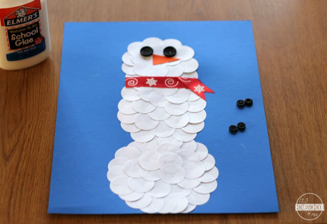 circle snowman winter craft