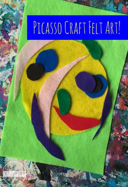 Picasso Portrait using felt - such a fun art project for kids learning about famous artists in homeschool, preschool, kindergarten, first grade, 2nd grade, 3rd grade, 4th grade, and 5th grade kids. #artprojects #picassorforikids #famousartists