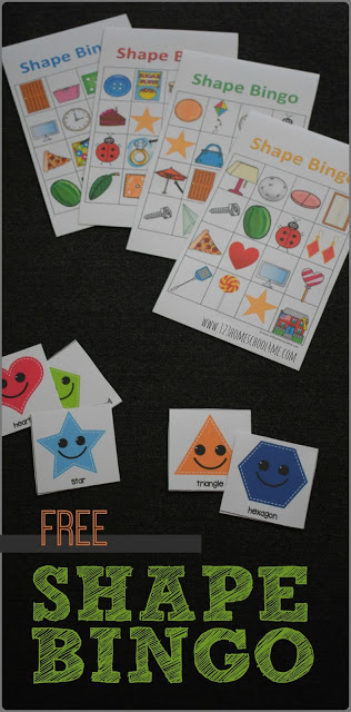 FREE Shape Bingo - fun shapes game will help kids go from knowing basic shapes to seeing them in the world around them. This is great for applying math for toddler, preschool, prek, kindergarten, and first grade.