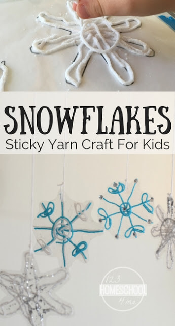 Sticky Yarn Snowflake Craft for Kids - This is such a cute, clever winter craft perfect for kids of all ages from toddler, preschool, kindergarten, first grade, 2nd grade, 3rd grade, 4th grade, and more.