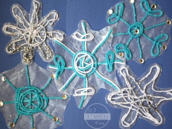Sticky Yarn Snowflake Craft For Kids