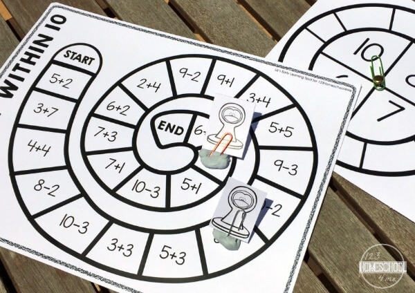 Math Fluency Worksheets - addition and subtraction math games for kindergarten and first grade kids