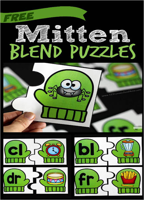 super cute, winter mitten themed blends activity is a great way to help kindergarten, first grade, and 2nd grade students work on literacy skill. Simply download pdf file with initial blends activity, print, and you are ready to math the blend with the picture.