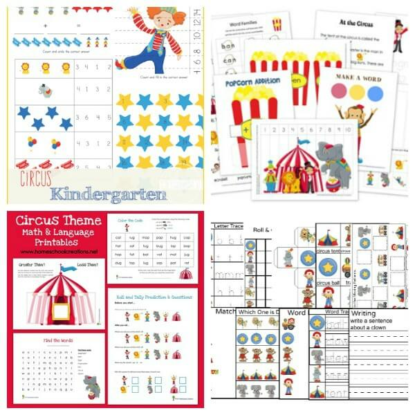 Carnival Worksheets for kids (circus theme printables)
