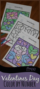 Color by Number Worksheets for Valentine's Day