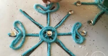 Sticky Yarn Snowflake Craft For Kids