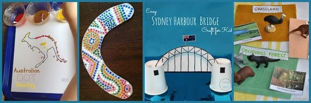 Crafts to Celebrate Australia Day including kangaroo, boomerang, sydney harbour bridge, and more