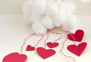 Raining Hearts Cloud Mobile Craft