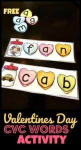 heart CVC Words Activity for February