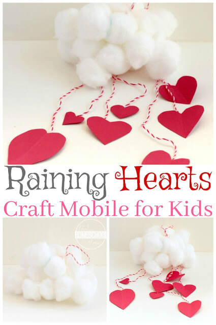 Kids will love making this super cute Raining Heart cloud mobile craft in February. This valentines day craft for preschoolers is such a unique, clever heart craft for toddler, preschool, pre-k, kindergarten, and first grade students. With just a couple simple materials you are ready to create a fun heart craft as avalentine activities for preschoolers.