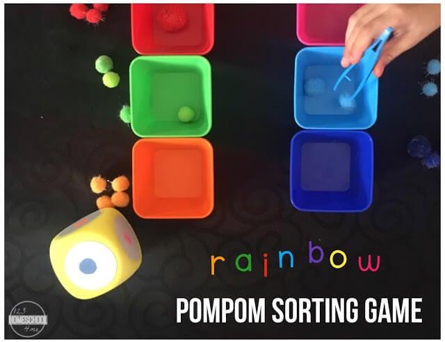 spring rainbow themed color sorting game for preschool, toddler, prek, kindergarten