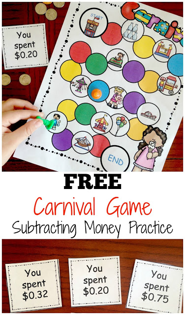 This super cute subtracting money games has a fun canrival theme to grab kids attention as they practice taking away money. Use thismoney game for kids in yoursubtracting money lesson plans to practice subtracting money while having fun. This educational game is perfect for homeschool, after school, summer learning, math centers, and extra practice. Simply download pdf file withprintable money games for 2nd grade, 3rd grade, and 4th grade students to make math fun!