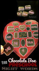 Chocoalte Box Pre Primer Sight Words for February