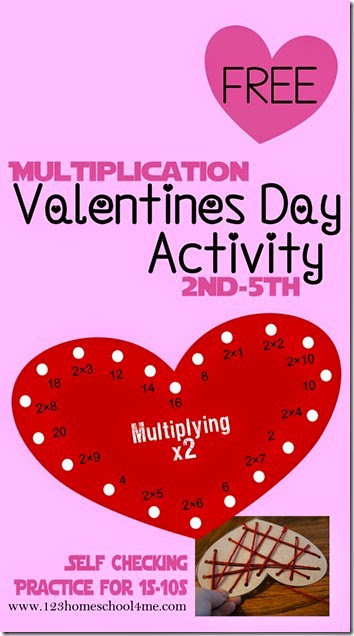 FREE Multiplication Valentines Day Activity -this fun educational activity is a fun way for 3rd grade, 4th grade, 5th grade, and 6th grade students to practice multiplication with a fun math game.