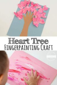 Valentines Day Craft made with afun fingerpainted style that makes the hearts pop off the heart tree