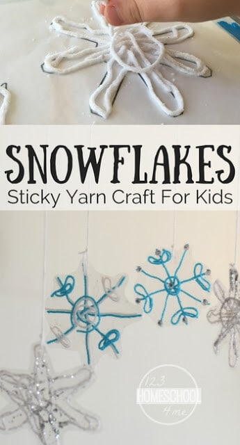 Sticky Yarn Snowflake Craft for Kids - This is such a cute, clever winter craft perfect for kids of all ages from toddler, preschool, kindergarten, first grade, 2nd grade, 3rd grade, 4th grade, and more. #snowflakes #wintercrafts #yarncrafts
