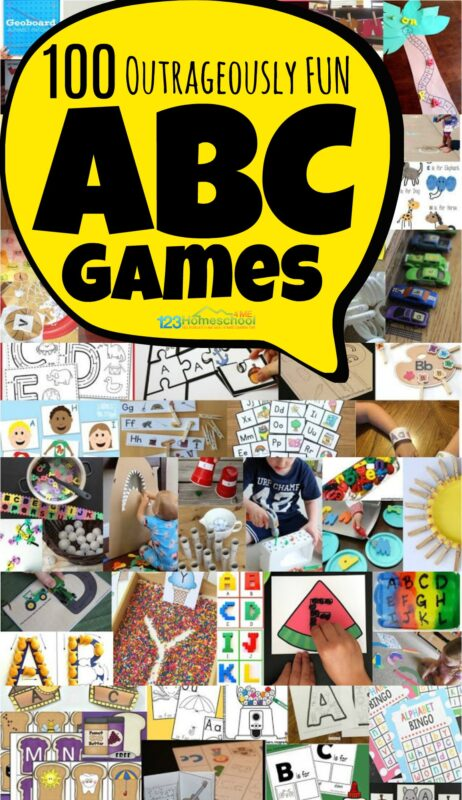 100+ Fun ABC Games - so many creative, unique and outrageously fun ideas to teach kids their letters with these alphabet activities for toddler, preschool, prek, and kindergarten age kids. #alphabet #preschool #kindergarten