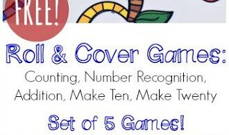 Make learning fun by using math games to teach kids necessary math skills. They not only keep kids engaged, but playing games teaches math concepts just as easily as completing a free math worksheet. This free printable cover that number dice game helps teach preschool, pre k, and kindergarten students about number sense, counting, and number recognition!