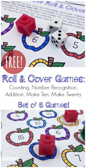 Make learning fun by using free math games to teach kids necessary math skills. They not only keep kids engaged, but playing games teaches math concepts just as easily as completing a free math worksheet. This free printable cover that number dice game helps teach preschool, pre k, and kindergarten students about number sense, counting, and number recognition!